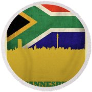 Johannesburg South Africa World City Flag Skyline Round Beach Towel