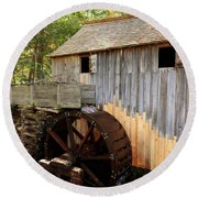 John Cable Mill In Cades Cove Historic Area In Smoky Mountains Round Beach Towel