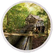 John Cable Mill In Cades Cove Historic Area In The Smoky Mountains Round Beach Towel