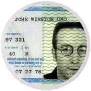 John Lennon Immigration Green Card 1976 Round Beach Towel