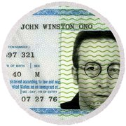 John Lennon Immigration Green Card 1976 Round Beach Towel