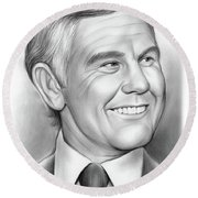 Johnny Carson 14sep18 Round Beach Towel