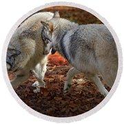 Joyful Wolves Round Beach Towel
