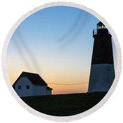 Judith Point Lighthouse Sunset Round Beach Towel