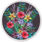 Just Flora II Round Beach Towel