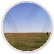 Just Walk To The Horizon Round Beach Towel by Carl Young
