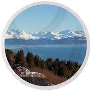 Kachemak Bay And Homer Alaska Round Beach Towel