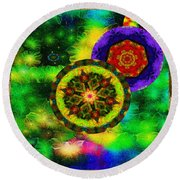 Kaleidoscope Moon For Children Gone To Soon Number - 3 Intensified  Round Beach Towel