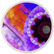 Kaleidoscope Moon For Children Gone Too Soon Number - 5 Flame And Flower  Round Beach Towel