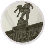 Kallison Cowboy Still Stands In San Antonio Round Beach Towel