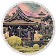 Kanagawa - The Japanese Garden Round Beach Towel