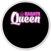 Karate Queen Cute Martial Arts Training Round Beach Towel