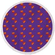 Kawaii Pumpkin Purple Round Beach Towel