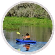 Kayaker In The Wild Round Beach Towel