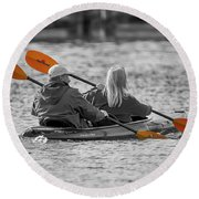 Kayaking Along The Magothy Round Beach Towel