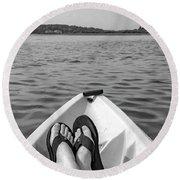 Kayaking In Black And White Round Beach Towel