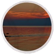 Kayak's Sunset Paradise Round Beach Towel
