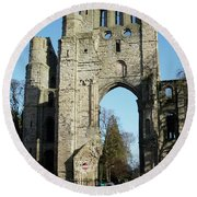 Kelso Abbey Ruin Round Beach Towel