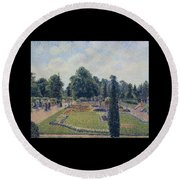 Kew Gardens - Path Between The Pond And The Palm House, 1892 Round Beach Towel