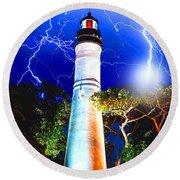 Key West Lightning Light House Round Beach Towel