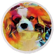 King Charles Spaniel On The Move Round Beach Towel