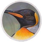 King Penguin Portrait By Alan M Hunt Round Beach Towel by Alan M Hunt