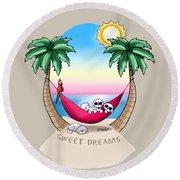 Kiniart Tropical Bichon Frise Round Beach Towel