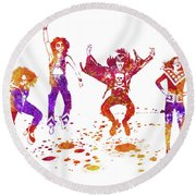Kiss Band Watercolor Splatter 01 Round Beach Towel