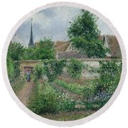 Kitchen Garden, Overcast Morning, Eragny, 1891  Round Beach Towel