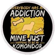 Komondor Funny Dog Addiction Round Beach Towel