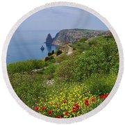 Crimea View, Fiolent Round Beach Towel