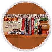 Kuji's Bookshelf Round Beach Towel