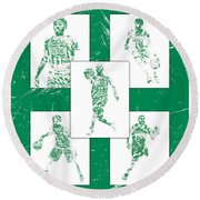 Kyrie Irving Boston Celtics Panel Pixel Art 1 Round Beach Towel
