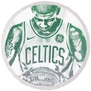 Kyrie Irving Boston Celtics Water Color Pixel Art 30 Round Beach Towel