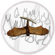 L Is For Little Red Flying Fox Round Beach Towel