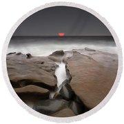 La Jolla Red Sun Round Beach Towel