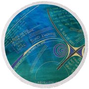 Labyrinth Of Words Round Beach Towel