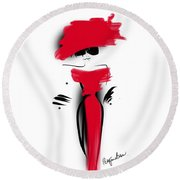 Lady In Her Red Dress Round Beach Towel