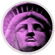 Lady Liberty In Pink Round Beach Towel