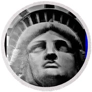 Lady Liberty Red White And Blue Round Beach Towel
