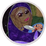 Lady With Child Round Beach Towel