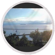 Lake Champlain Early Afternoon Sunshine Enhanced Round Beach Towel