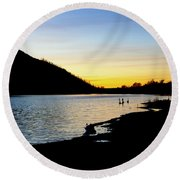Lake Cuyamaca Sunset Round Beach Towel