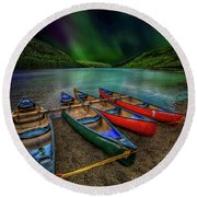 lake Geirionydd Canoes Round Beach Towel by Adrian Evans