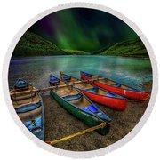 lake Geirionydd Canoes Round Beach Towel