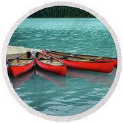 Lake Louise Canoes Round Beach Towel