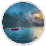 Lake Louise Canoes In The Morning Round Beach Towel
