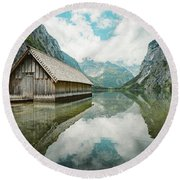 Lake Obersee Boat House Round Beach Towel