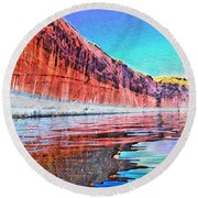Lake Powell With Cliff Reflections Round Beach Towel