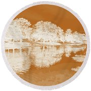Lake Reflections In Brown Round Beach Towel